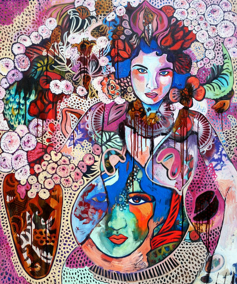 Hickey, S. 2015. Repository of selves, 130 x 155 cm, oil and mixed media on canvas.