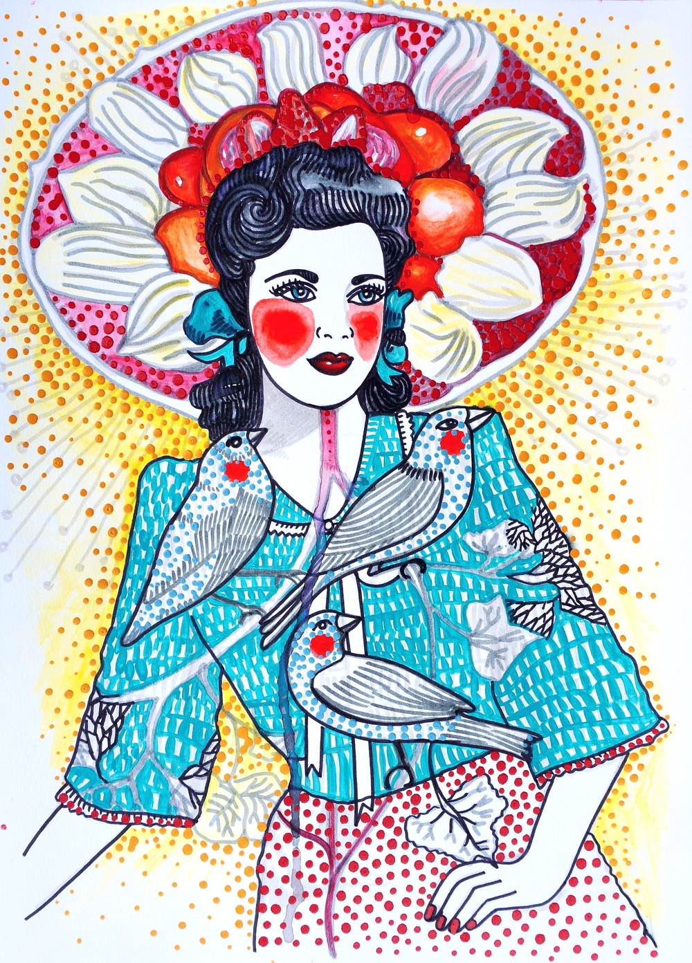 Hickey, S. 2016. Girl with Dessert Sombrero and trinity of birds, ink and paint on paper on A3 paper [447100].jpg