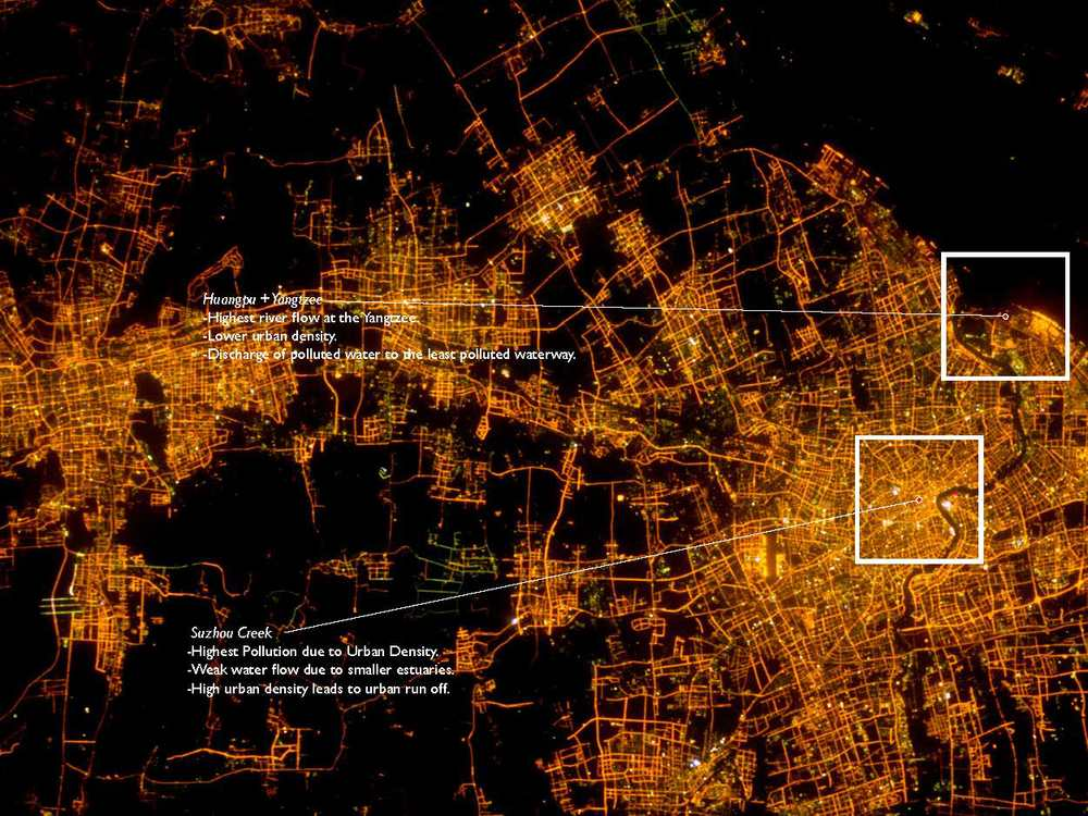 Arial view of Shanghai at night, showing the intricate waterway system and the varying patches of denstiy branching off of it. Image: NASA