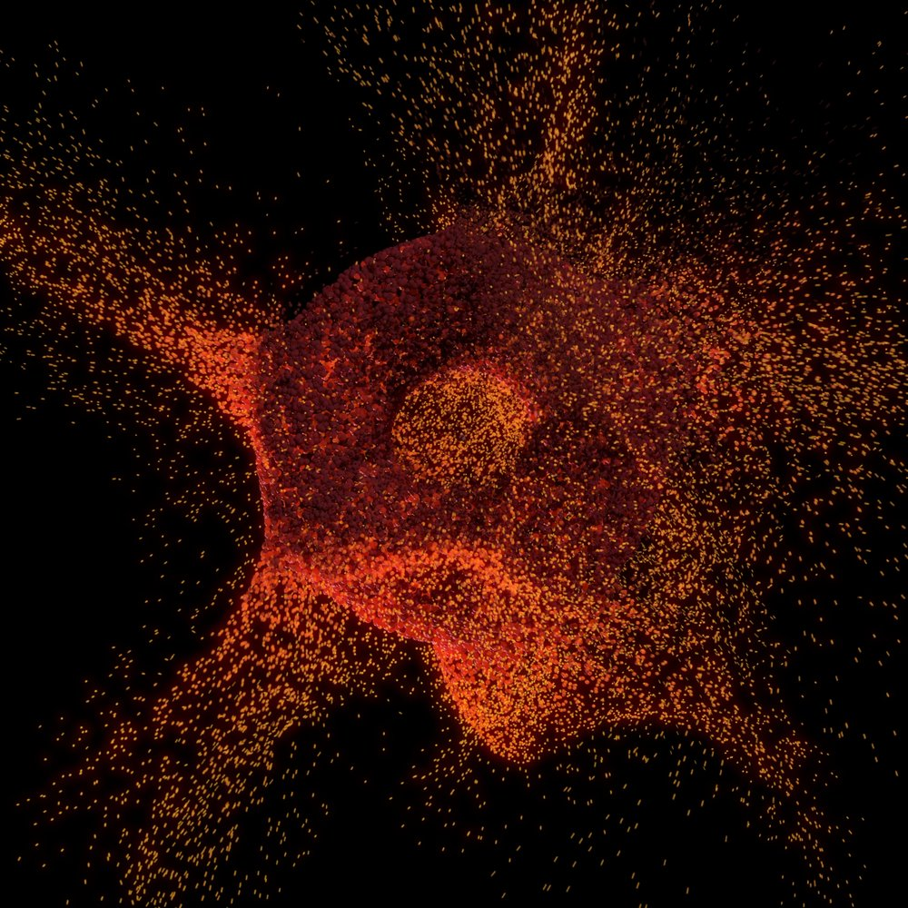Torus Fire  - Particle simulation from a torus.   Turbulence used to animate the movement of the particles.