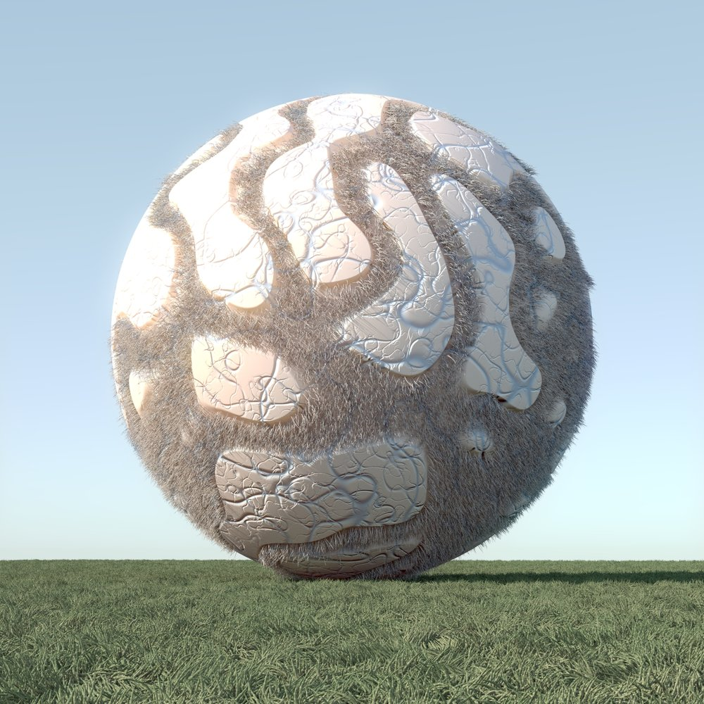 Egg - Here is a sphere with 2 levels of the vein shader.   The large vein shader creates a mask for a hair material.   Also hair used for the grass.