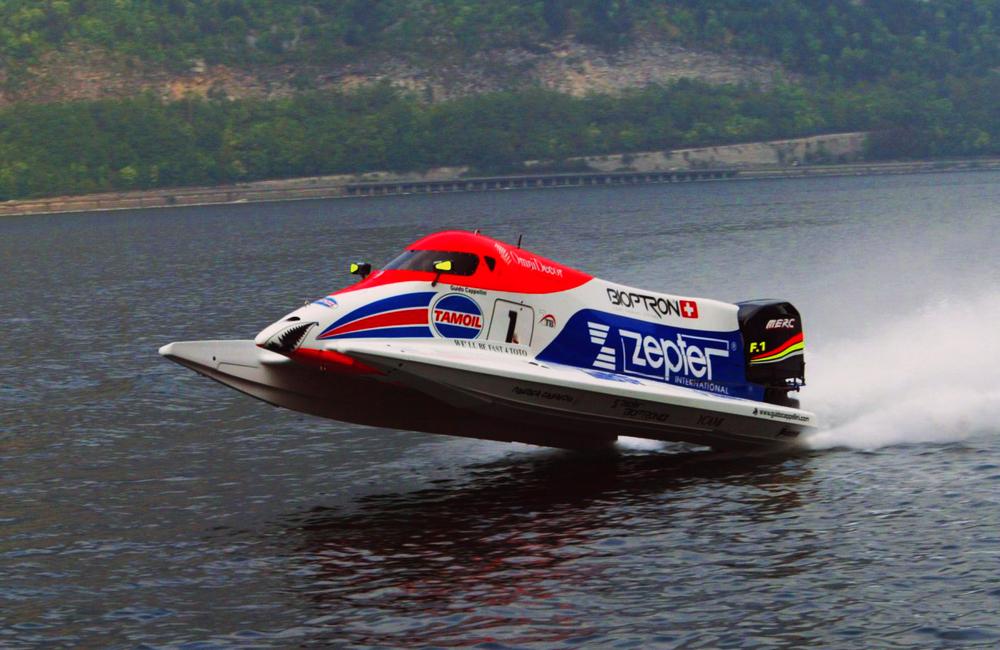 Formula 1 class racing powerboat.