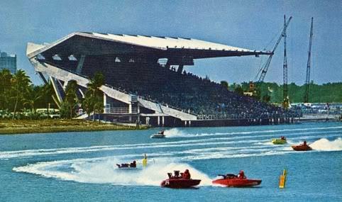 A boat race at Miami Marine Stadium