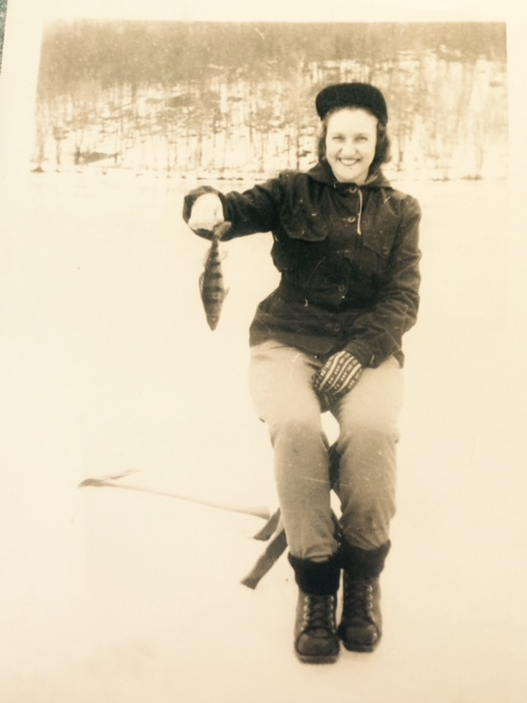 Mom ice fishing circa 1946