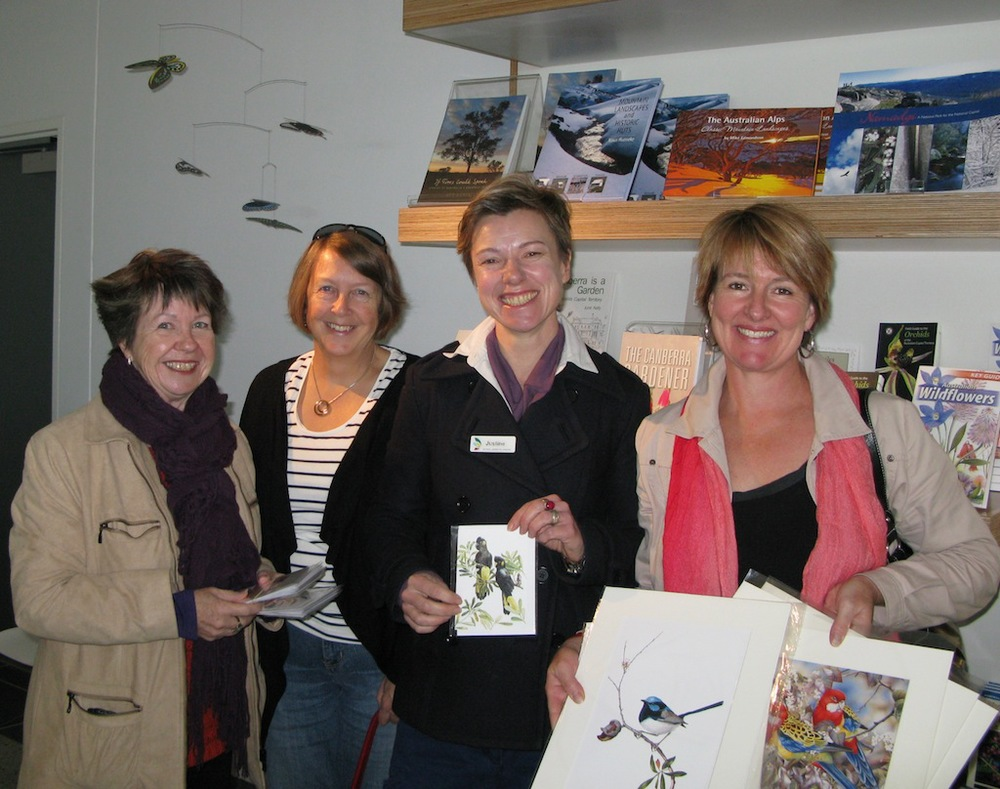 From left: Leigh Murray, Glenda Shelley, Justine (Arboretum) and Cheryl Hodges during hand over of the first consignment of WABA members' work on 3 July 2013.