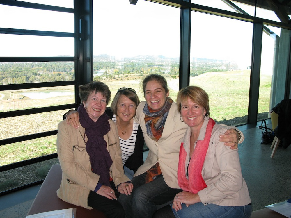 Some members of the WABA Inc Project Committee at the National Arboretum after handover. From left: Leigh Murray (Project Manager), Glenda Shelley (Public Officer), Natalie Maras (Communications), Cheryl Hodges (Designer).