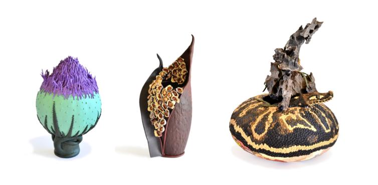 Pod (sculpture); Kurrajong (vase); Ball python (sculpture) by Natalie Maras.
