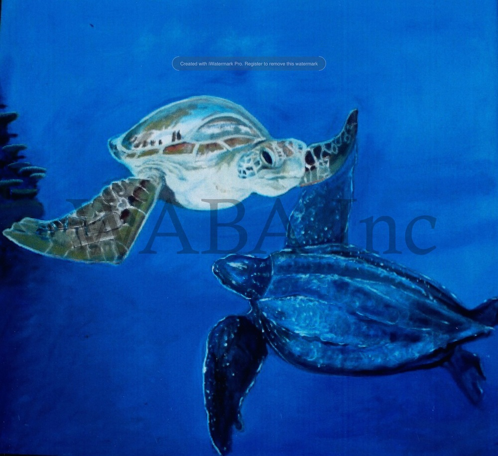 Turtles Drifting, Annabel Fox, oil, 920 x 910 mm