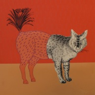 Orange Grimalkin, Claude Jones,   Framed screen print on paper,   600 mm x 600 mm
