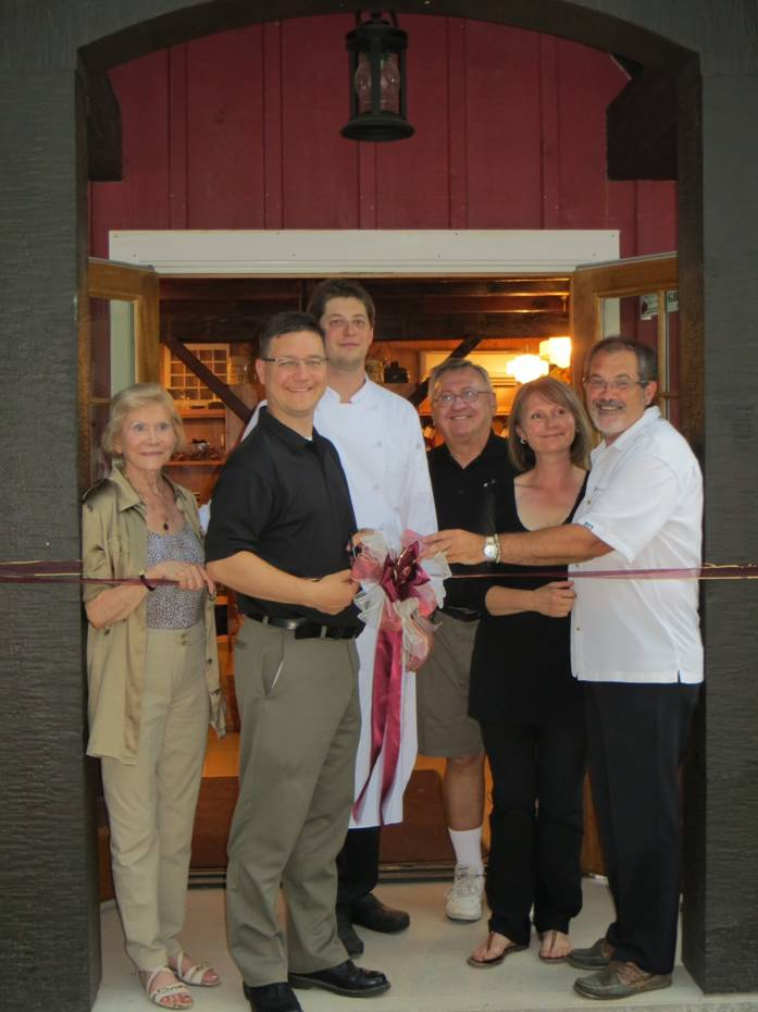 Ridge Berry Farm grand opening with (from left to right): Jeannine  Scholaert, Mayor Dave Augustyn, Chef Ryan Beck, Councilor John Durley,  Christine and Hugh Scholaert.