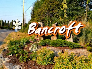 The sign leading into the mineral capital of Canada: Bancroft, Ontario. Photo by Michelle Annette Tremblay