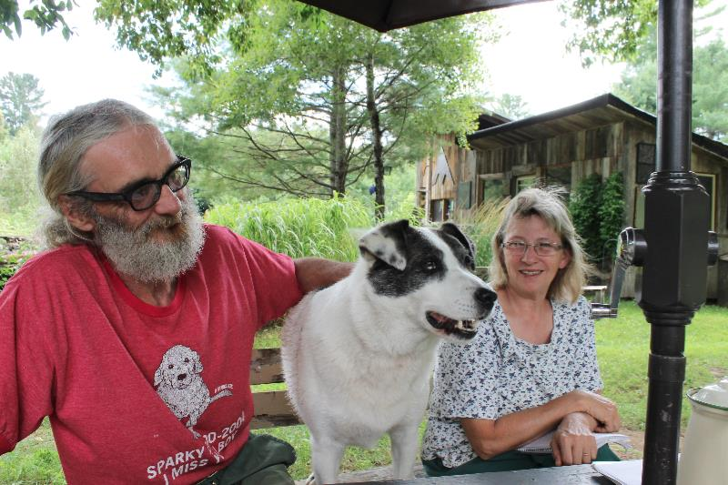Storring, Baynes and their charming canine companion, Whiskey, are happy to give visitors tours of the Madawaska House Retreat and Organic Gardens, in Maple Leaf, and share their knowledge of organic gardening.