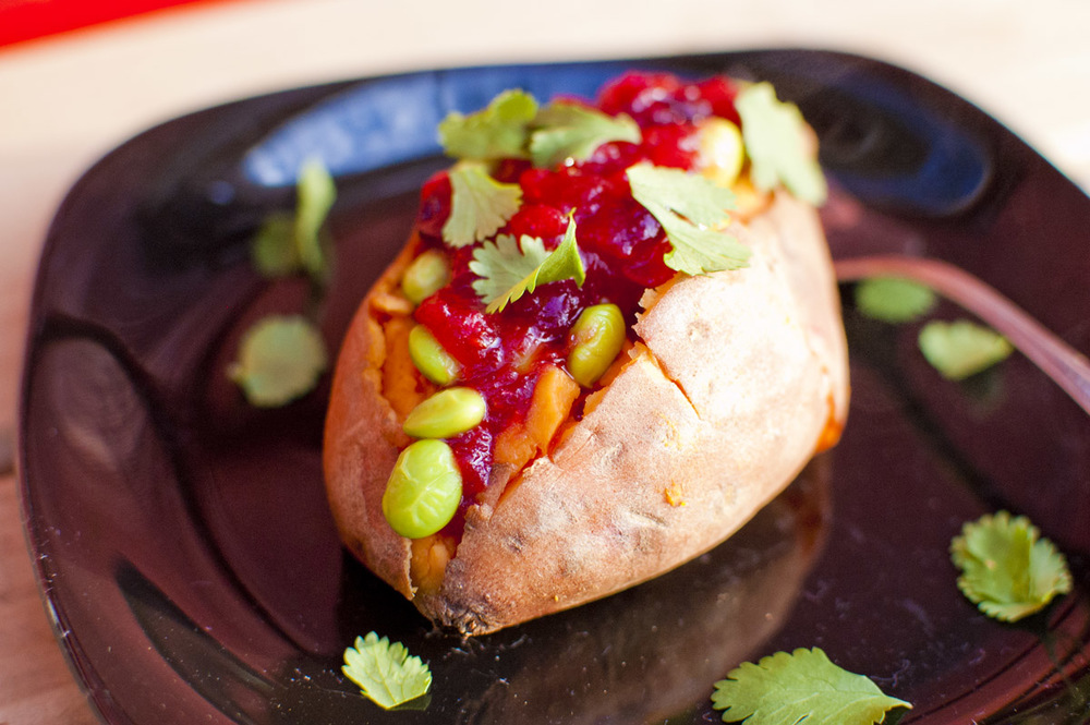Sweet Potato stuffed with Edamame and Ginger Cranberry Sauce