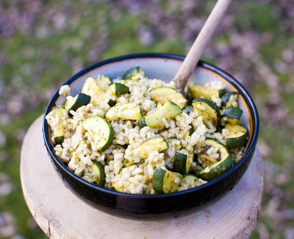 Roasted Zucchini Rice Salad