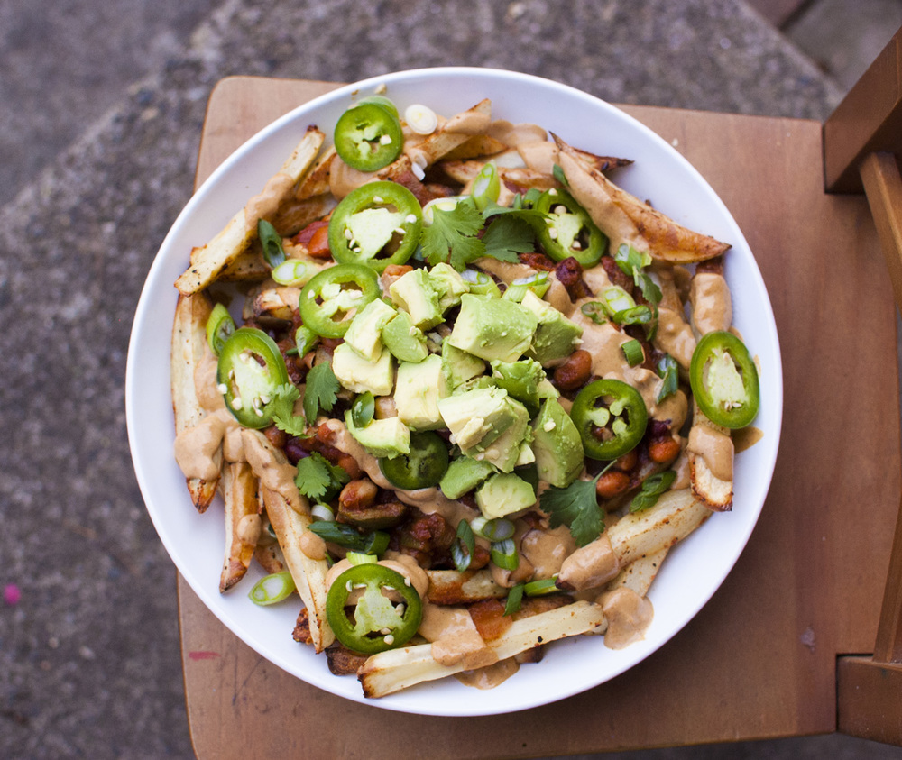 The BEST healthy vegan Chili Cheese Fries