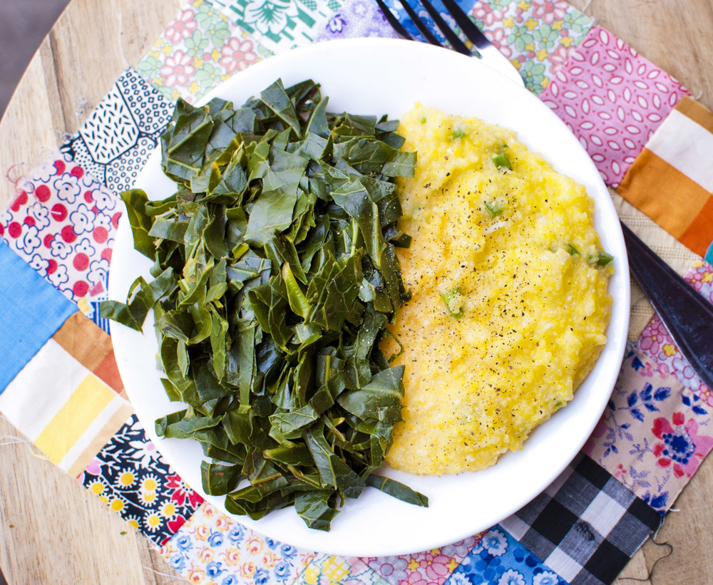 Quick Collards and Jalapeno Garlic Polenta - Simply Healthy