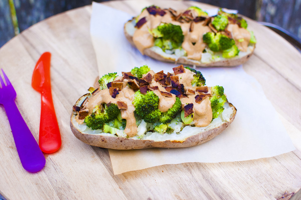 Vegan Cheese, Broccoli and Tofu Bacon Stuffed Twice Baked Potatoes