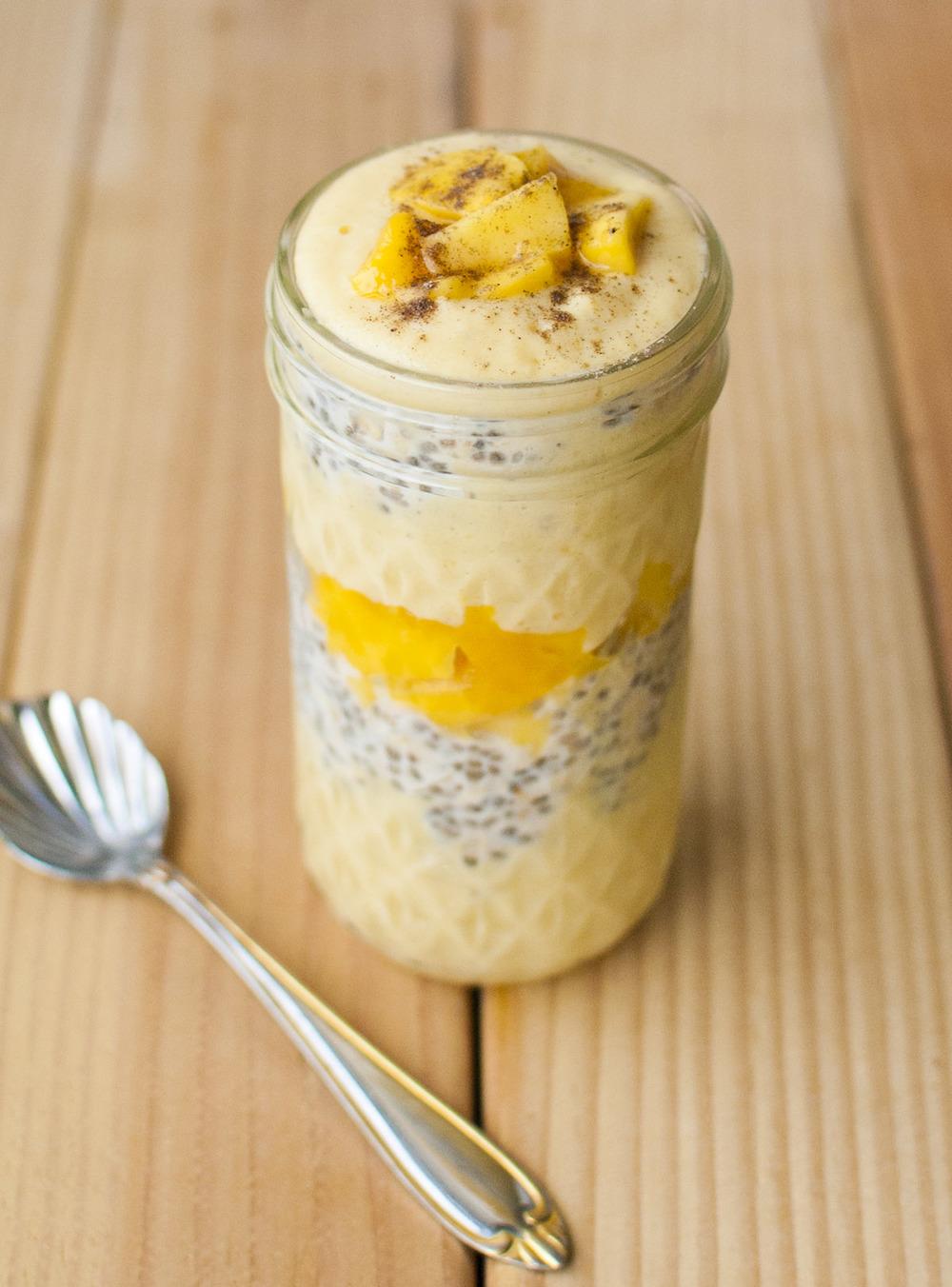 Vegan Mango Lassi Overnight Oatmeal Parfait