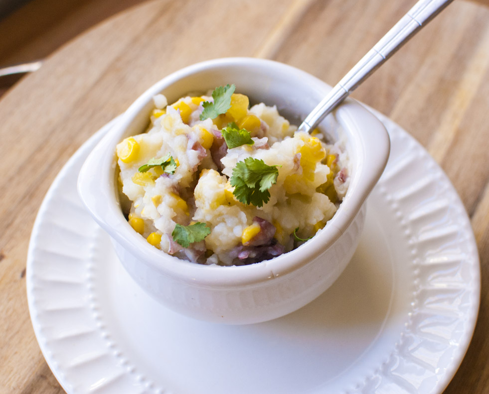 Chile Corn Mashed Potatoes - Simply Healthy and Vegan!