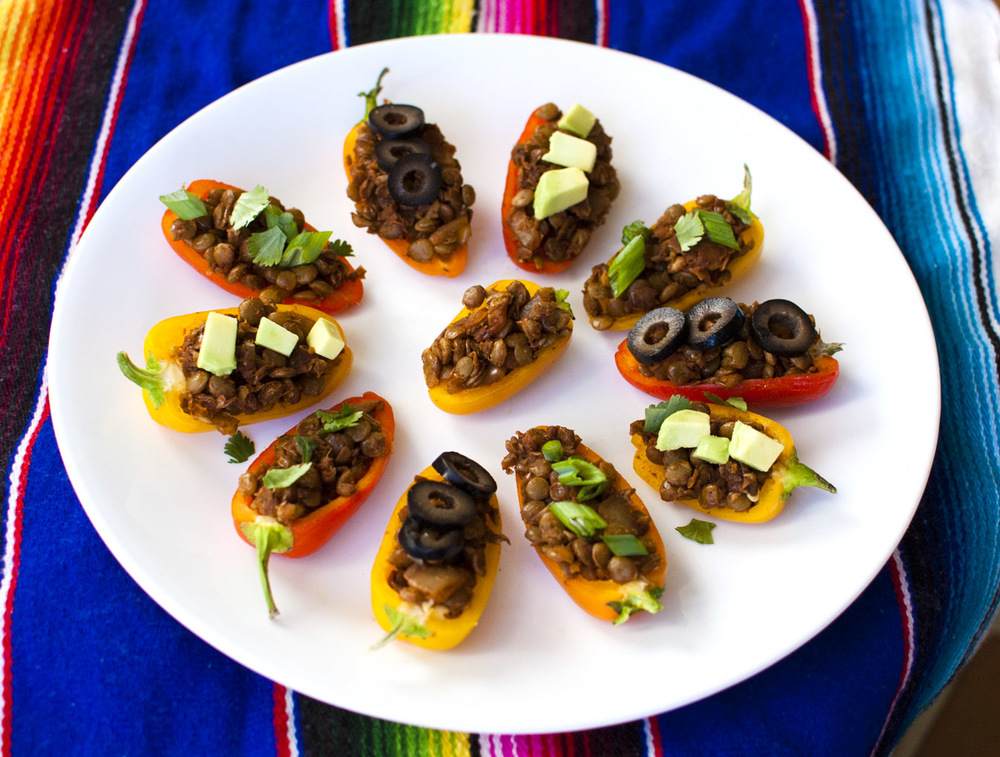 Mini Vegan Taco Lentils Stuffed Peppers