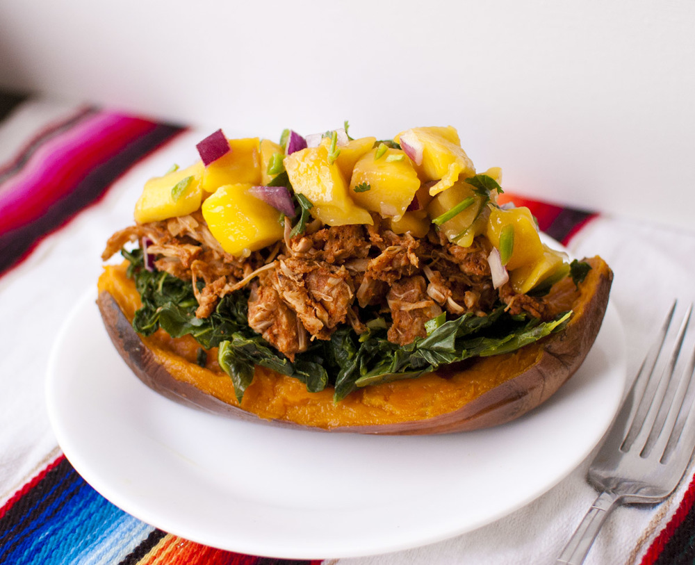 Collard Green, BBQ Jackfruit and Mango Salsa Stuffed Sweet Potatoes