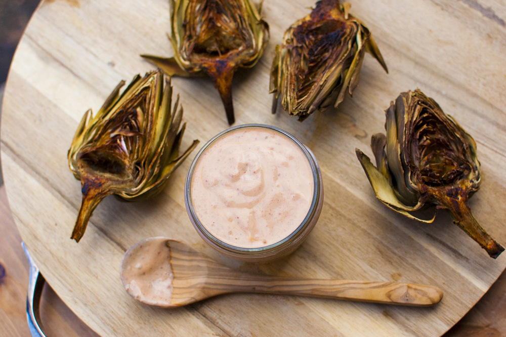 Chili Lime Roasted Artichokes with Vegan Chipotle Mayo