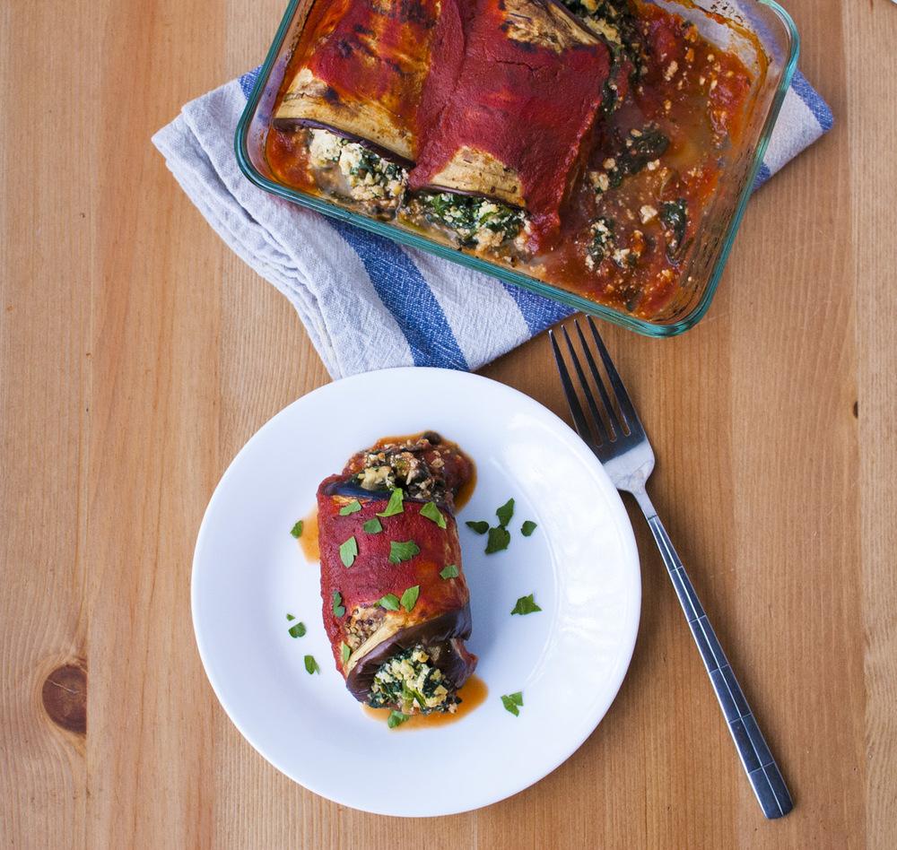 "Vegan Spinach ""Ricotta"" Eggplant Rolls"