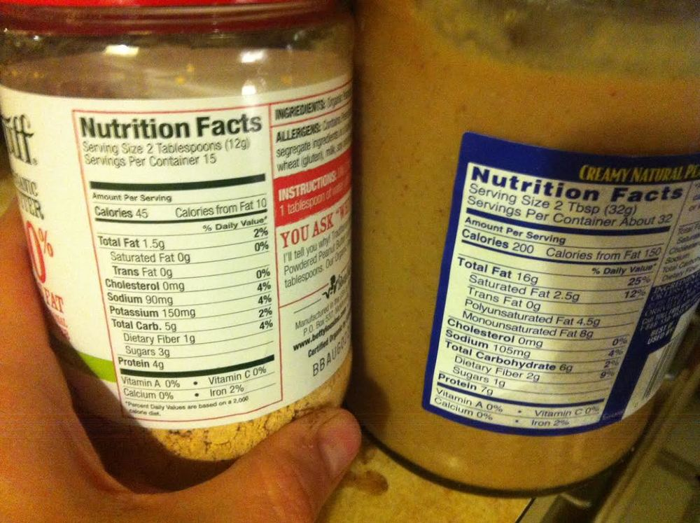 Powdered Great Stuff vs Adam's Natural Peanut Butter Both GREAT options but powdered is better as far as calorie density goes!