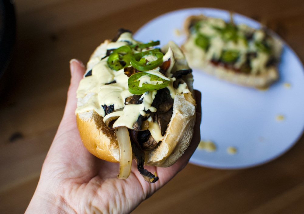 "Spicy Vegan Portobello Philly ""Cheesesteak"" Sandwiches"