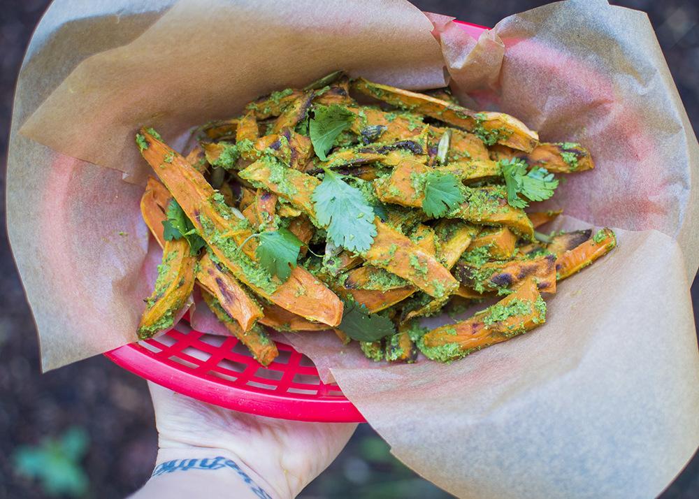 Cilantro Pepita Pesto Sweet Potato Fries — Fo Reals Life