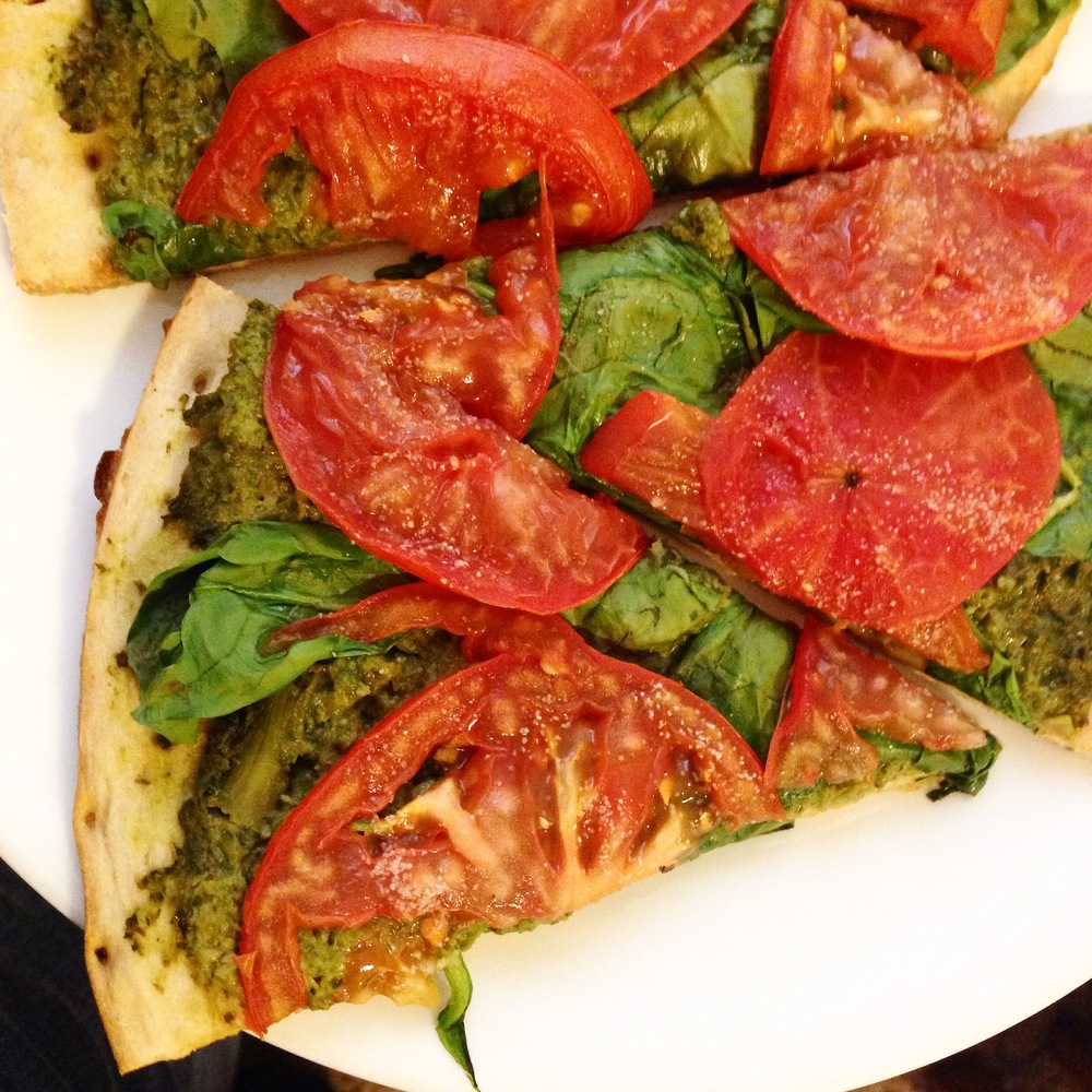 Vegan Roasted Broccoli Pesto Pizza with Tomato