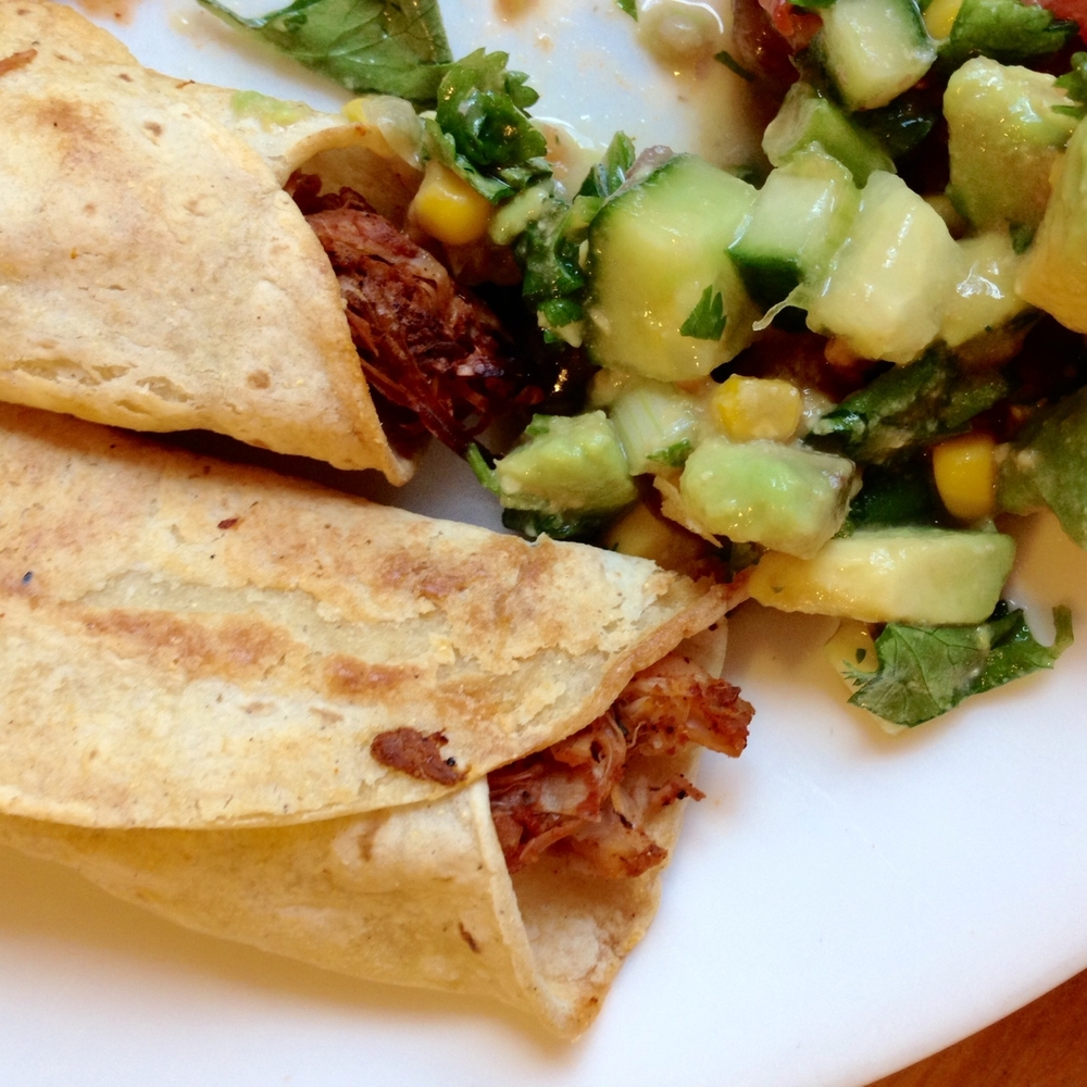 Jackfruit Taquitos with Avocado Cucumber Salsa (vegan!)