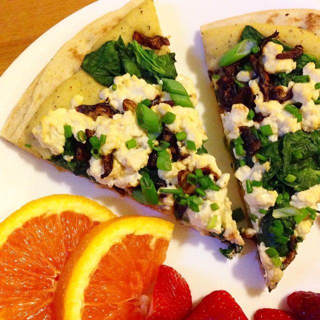 Vegan Breakfast Pizza with Shiitake Bacon and Tofu Scramble