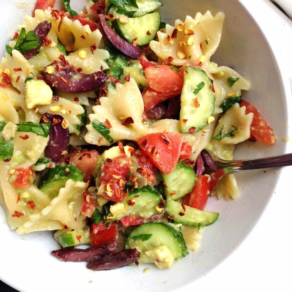 Oil Free Avocado Pasta Salad