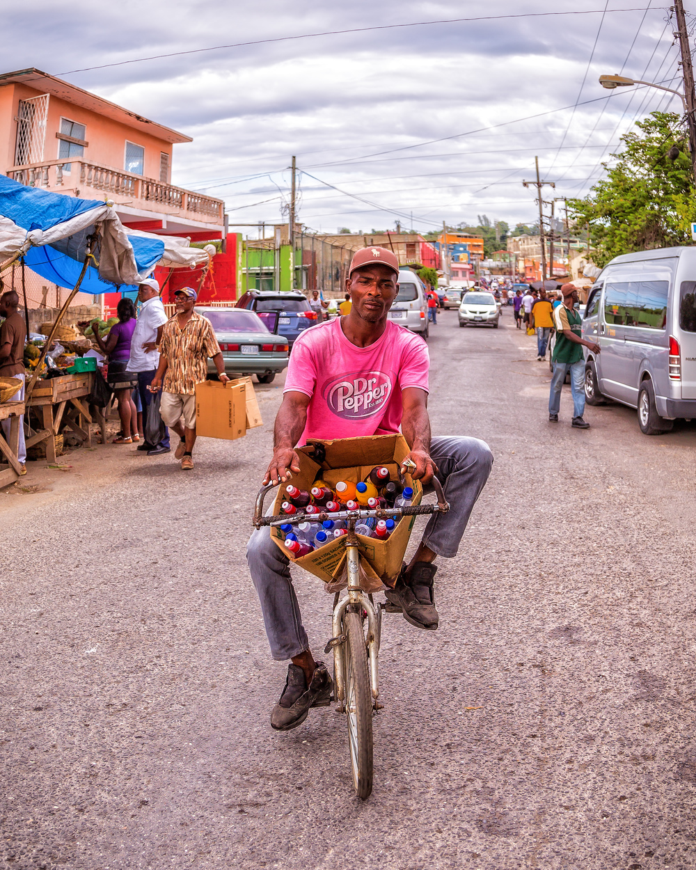 An unusual drinks vendor in Montego Bay Fruit Market in Jamaica