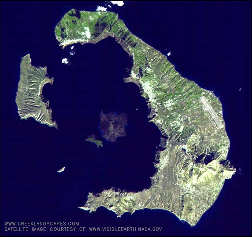 The Island of Santorini. Fira is in the middle on the Western internal edge of the landmass on the right.