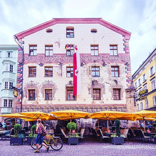 The 600-year old Goldener Adler restaurant in the old town of #innsbruck in #austria  #travel #street #restaurant #ancient