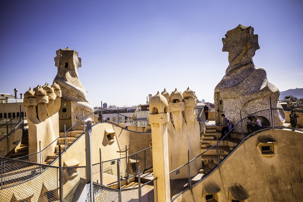 Rooftop chimneys of Casa Mila, Gaudi's famous apartment complex