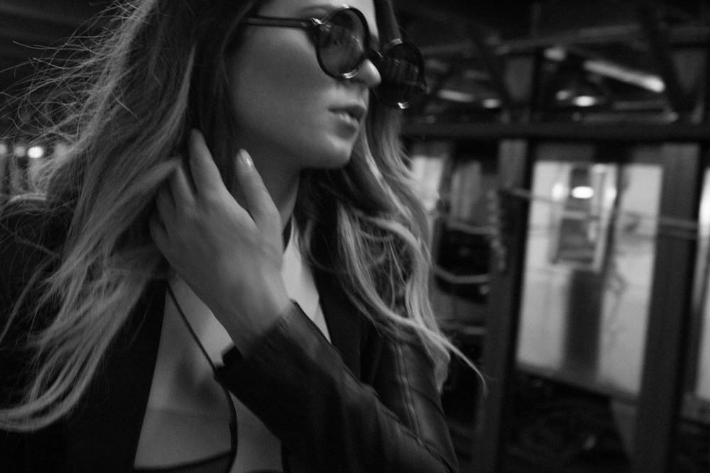 Suit Jacket with Leather Detail Skingraft   Neoprene Bra NLP   Shorts SSUR   Shoes Modern Vice   Sunglasses Vintage
