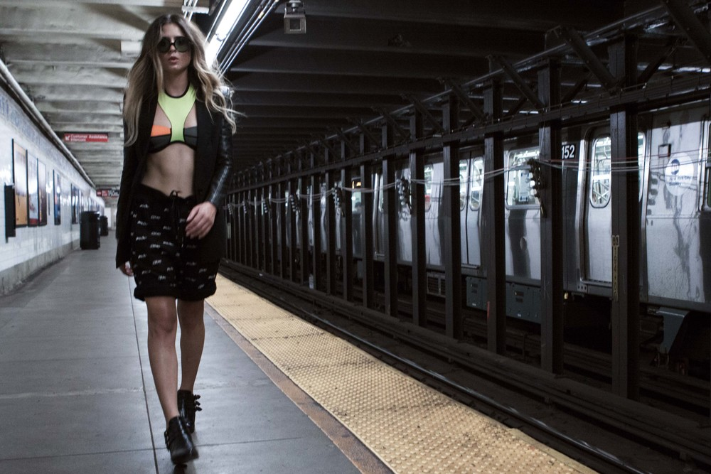 Anastasia Ashley in Skingraft on New York Subway Platform