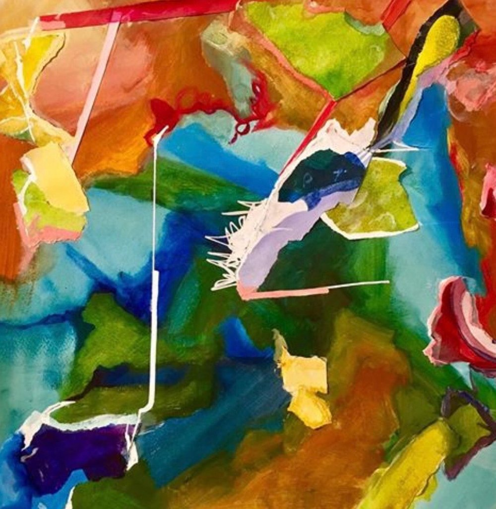 """ Color Crush""  16"" x 16"" watermedia collage paper $300"