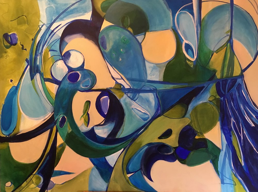 """"""" Moving Water""""   36"""" x 48"""" acrylic on canvas $800"""
