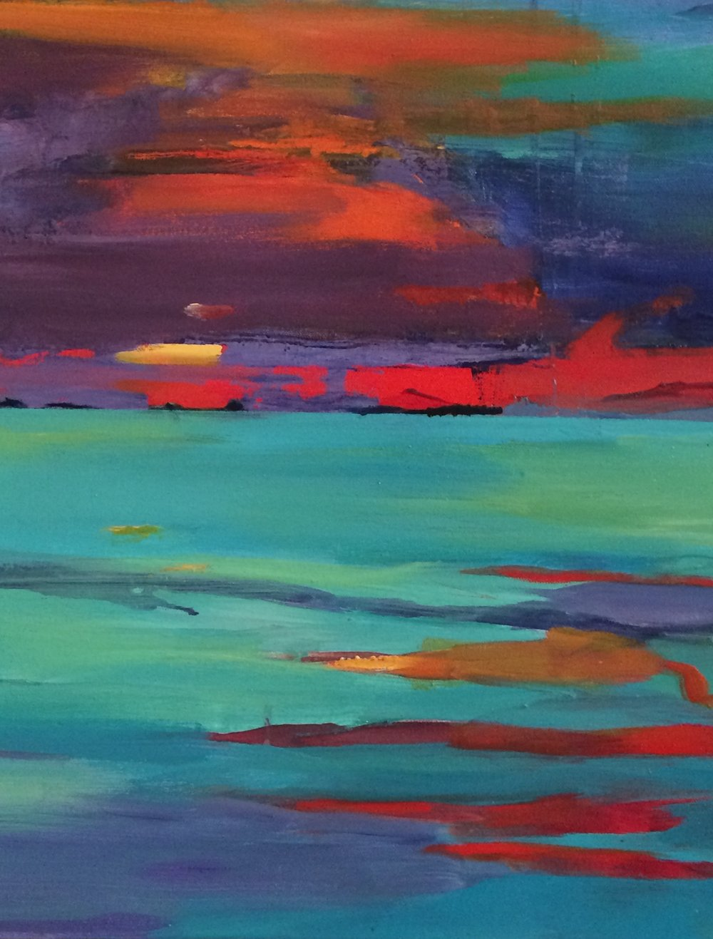 """ Island Sunset"" 24"" x 20"" acrylic on canvas $300"