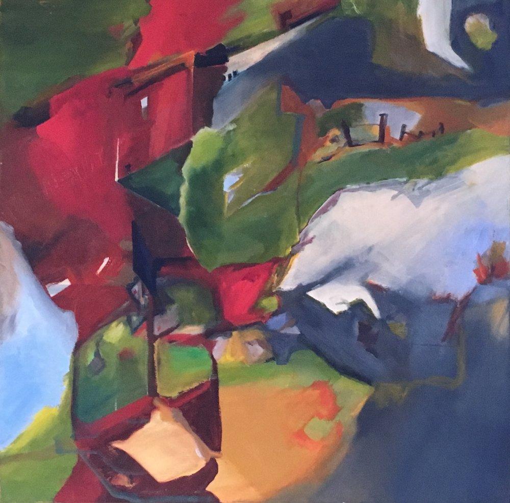 """"""" Suburbia"""" oil on canvas 36"""" x 36'"""" $700"""