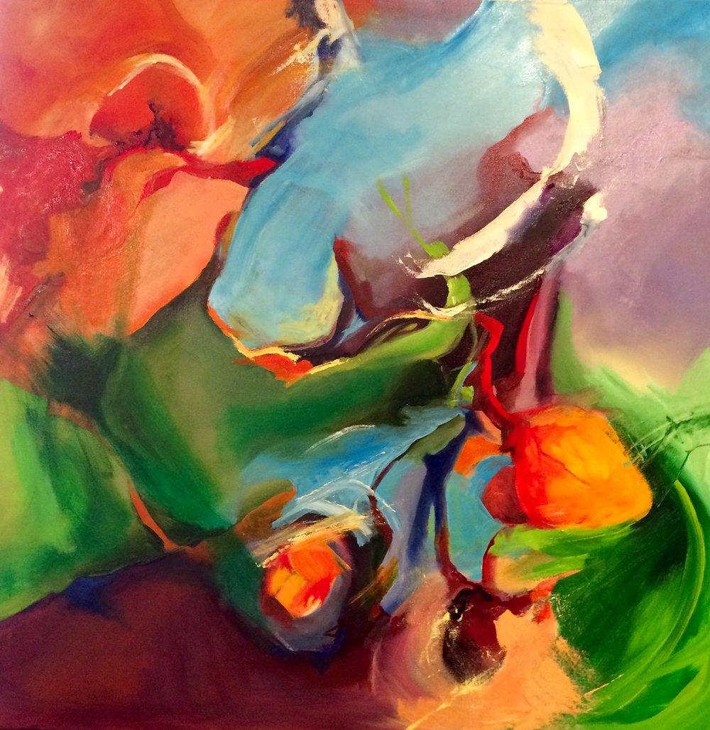 """"""" Beat"""" oil on canvas 30"""" x 30"""" $400"""