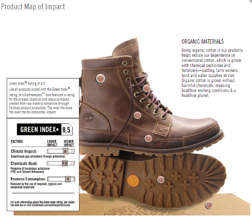 Timberland Green Index (courtesy of http://responsibility.timberland.com)
