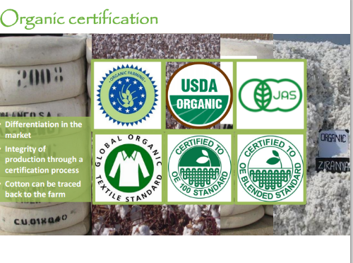 Some certifications for Organic Cotton (courtesy of the Textile Exchange)