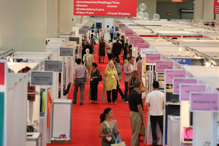 View down the aisle of Texworld USA - July 2013 - from the Texworld Facebook page