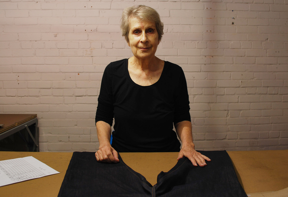 Christel Ellsberg is an expert tailor and pattern maker for Raleigh Denim, which makes American-made jeans. Photo credit: Raleigh Denim