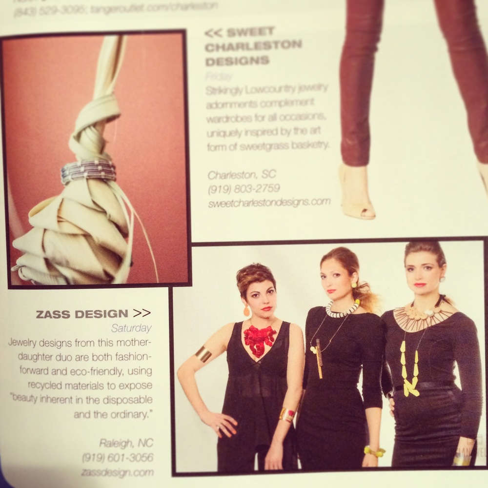 zassdesign mentioned in the Charleston Fashion Week catalog, with a picture from their Redress 2013 Collection. Photo provided by zassdesign.